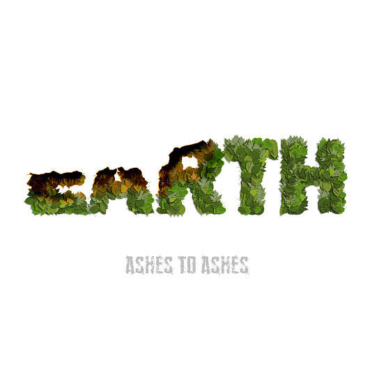 Letters made by leaves forming the word EARTH. The first three letters are burning down.
