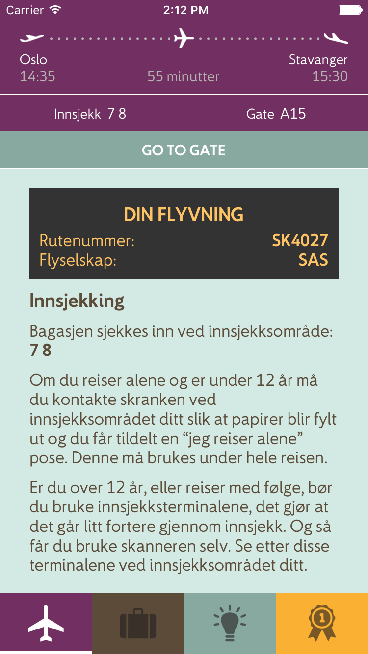 Image of the Avinor app showing the general layout