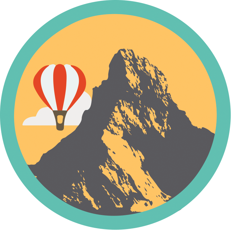 Badge showing the swiss badge with a silhouette of the Matterhorn mountain and a balloon passing by